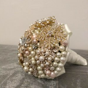 Pearl and Brooch Wedding Bouquet