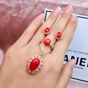 Red Coral Ring Earrings
