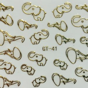 Nail Art 3D Decal Stickers Gold Elephant