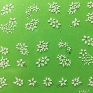 Nail Art 3D Decal Stickers White Flowers
