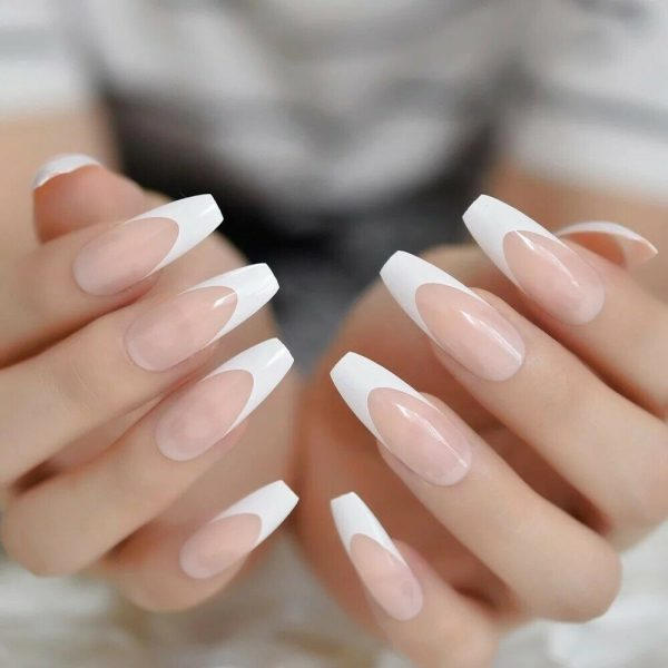 WFTLPON 6068 2 600x600 - White French Tip Long Press On Nails
