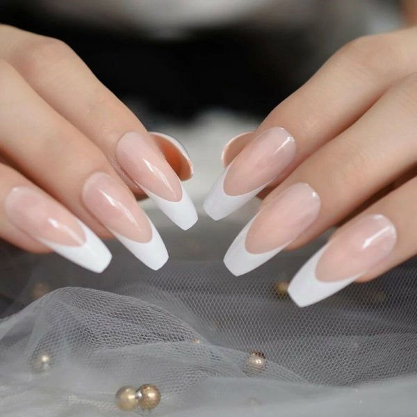 WFTLPON 6068 3 600x600 - White French Tip Long Press On Nails