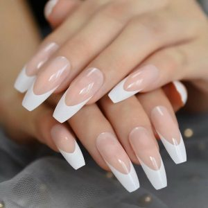 White French Tip Long Press On Nails